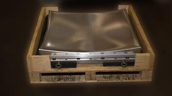 CNC machined metal concave part in pallet box for shipment