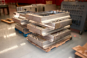 8 welded assembly box builds on pallets