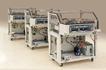 Three low-volume build machines in a row