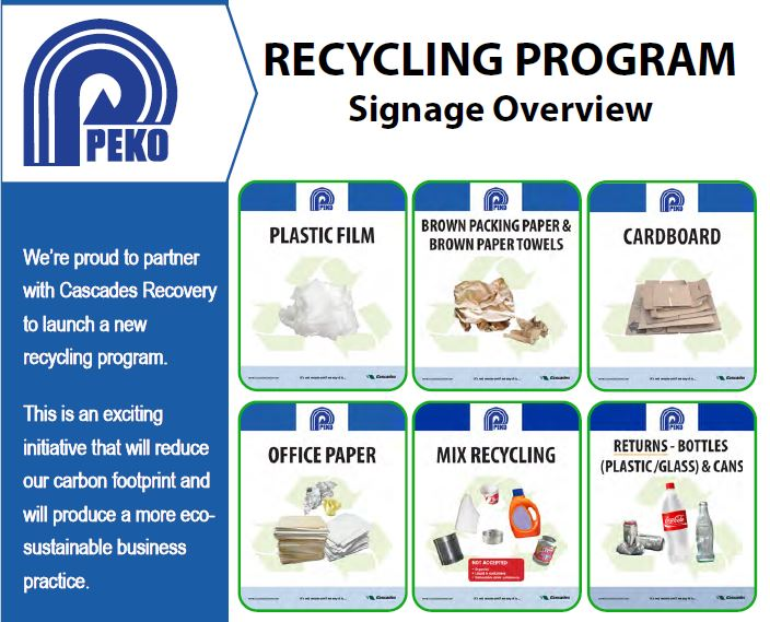 PEKO Discarded Material Management Program Overview provided by Cascades