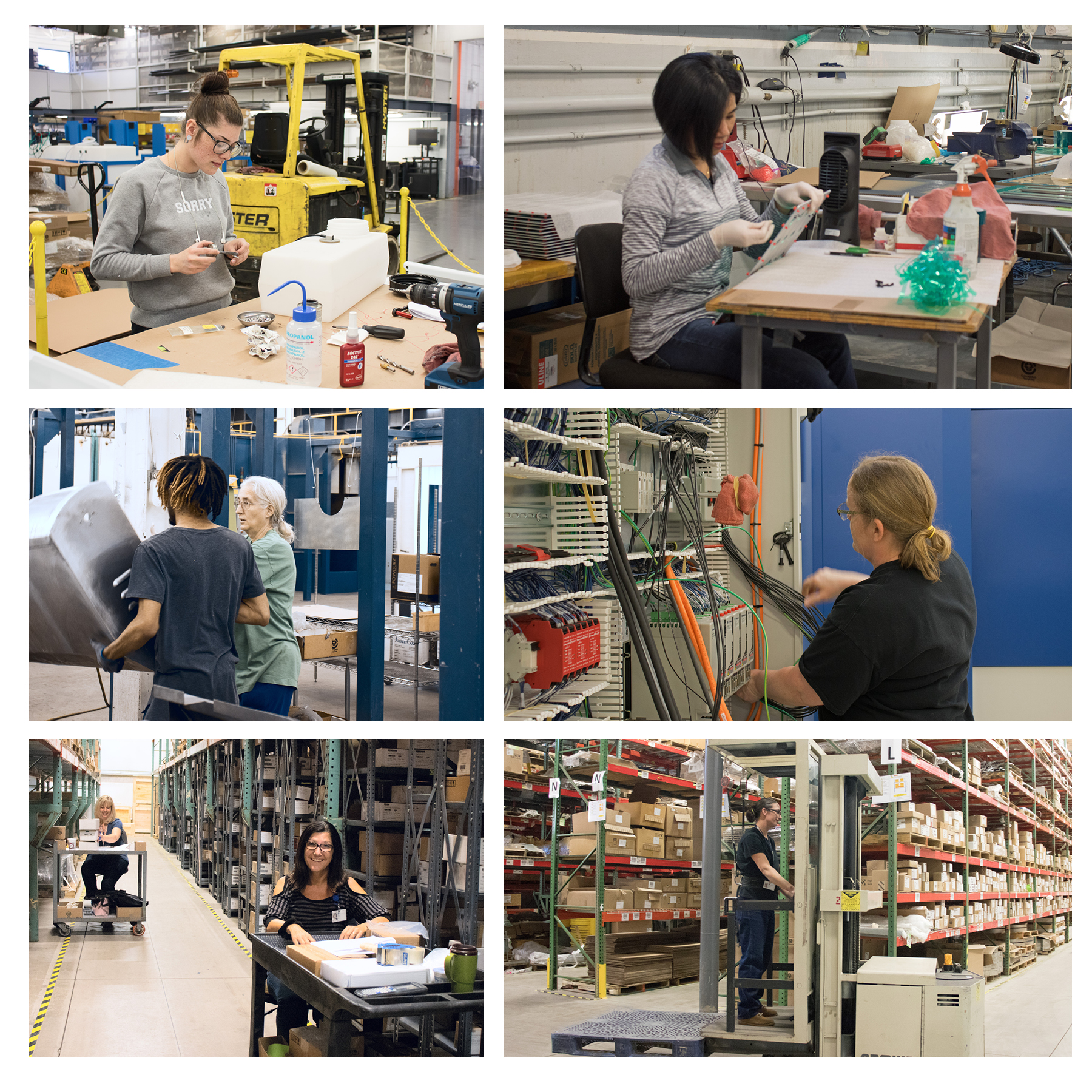 Six images of women working on our manufacturing floors.  (Starting from top left, assembler with screw, painter preparing metal part, woman lifting large metal part with coworker onto paint line, woman assembling electrical controls, women organizing in warehouse, women driving tow motor.)